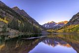 Maroon Bells Alpen Glow Photographic Print by Rebecca L. Latson