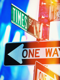 Usa, New York State, New York City, times Square, Directional Signs at Night Photographic Print by Tetra Images