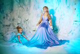 Little Girl with Mother in Princess Dress on a Background of a Winter Fairy Tale. Baby and Mom Snow Photographic Print by  Miramiska