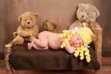 Newborn Baby Girl Wearing a Goldilocks Costume Photographic Print by  Kattitude