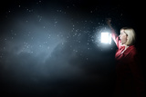 Young Woman in Red Cloak with Lantern Lost in Forest Photo by Sergey Nivens