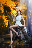 Portrait of Beautiful Girl in the Forest Girl with Fairy Look in Autumnal Shoot Posters by  iancucristi