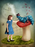 Alice and the Caterpillar Smoking His Hookah Photographic Print by  egal
