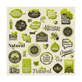 Natural Organic Product Labels, Emblems and Badges. Set of Vector Design Elements Posters by  ussr