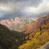 Rocky Mountain Scene in Autumn with Stormy Skies Photographic Print by Mike Kemp Images