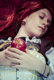 Gothic, Teen with a Red Apple Lying, Tale Scene Photographic Print by  outsiderzone