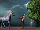 Fairy and Unicorn Photographic Print by Corey Ford