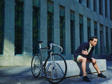 Stylish Young Man with Classic Bicycle Stylish Young Man with Classic Bicycle Posters by  GaudiLab