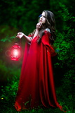Beautiful Woman with Red Cloak and Lantern in the Woods Photographic Print by  mirceab