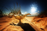 Magic Lamp in the Desert from the Story of Aladdin with Genie Appearing in Blue Smoke Concept for W Photographic Print by  Flynt