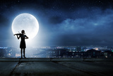 Silhouette of Woman Playing Violin at Night Photo by Sergey Nivens