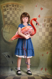 Alice Trying to Play Croquet with Flamingo Photographic Print by  egal