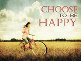 A Pretty Girl Riding through a Field Full of Yellow Flowers with the Text: Choose to Be Happy Posters by  graphicphoto