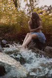 Beautiful Woman in Fairy Forest near a Stream Photographic Print by  Miramiska