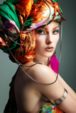 A Photo of Beautiful Redheaded Girl in a Head-Dress from the Coloured Fabric, Glamour Photographic Print by  Pandorabox