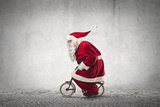 Santa Claus Rides a Bicycle Photographic Print by  olly2