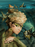 Mermaid with a Crown of Shells and Fish Angelfish Photographic Print by  Lilun