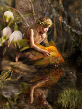 The Girl Releases a Gold Fish Photographic Print by  Lilun