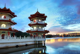 Chinese Garden Twin Pagoda Singapore Photographic Print by seng chye teo