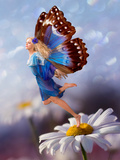 Female Elf Fly with Chamomile Flower Posters by  Lilun