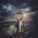 Naked Mermaid Sitting on a Deserted Road Photographic Print by  outsiderzone
