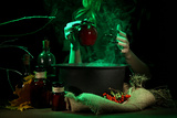 Witch in Scary Halloween Laboratory on Dark Color Background Photographic Print by  Yastremska