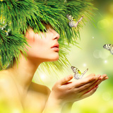 Spring Woman. Beauty Summer Girl with Grass Hair and Green Makeup. Butterflies. Nature Style. Envir Prints by Subbotina Anna