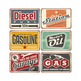 Gas Stations and Car Service Vintage Tin Signs Print by  Lukeruk