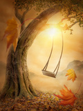 Old Swing Hanging from a Large Tree Prints by  egal