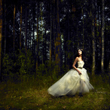 Romantic Girl in Fairy Forest Photographic Print by George Mayer