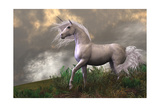 White Unicorn Stallion Poster by Corey Ford