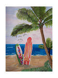 Caribbean Strand with Surf Boards Giclee Print by Martina Bleichner
