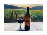 Napa Valley Wine Bottle with Red Wine Giclee Print by Markus Bleichner