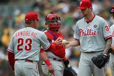 Sep 21, 2014, Philadelphia Phillies vs Oakland Athletics - Ryne Sandberg Fotografisk tryk af Thearon W. Henderson