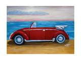 The VW Bug Series - The Red Volkswagen Bug at the beach Giclee Print by Martina Bleichner