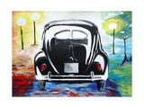 Surf VW Bug Series - The Black Volkswagen Bug Split Window Giclee Print by Martina Bleichner