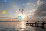 Balloons Floating over Still Lake Photographic Print by Henglein and Steets