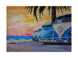 VW Volkswagen Bully Series - Blue Surf Bus Line Giclee Print by Martina Bleichner
