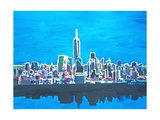 Neon Skyline of New York City Manhattan with One World Trade Center Giclee Print by Martina Bleichner