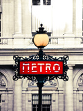 Detail of Parisian Architecture and Metro Sign Photographic Print by Federica Fortunat