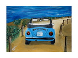 The VW Bug Series - The Blue Volkswagen Bug at the Beach Giclee Print by Martina Bleichner