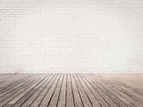 Room with White Bricks Wall and Wood Floor Photographic Print by  xavigm