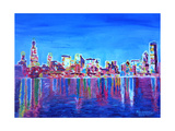 Neon Shimmering Skyline of Chicago Skyline at Night Giclee Print by Martina Bleichner