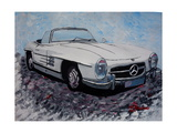 The White Mercedes SL 300 1957 Giclee Print by Martina Bleichner