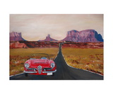 Monument Valley Road Trip with Oldtimer Convertible Giclee Print by Martina Bleichner