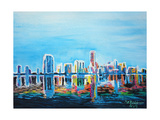 Neon Shimmering Skyline Silhouette, Miami, Florida Giclee Print by Martina Bleichner