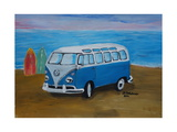 The Blue Volkswagen Bulli Surf Bus with Surf Board Giclee Print by Martina Bleichner