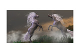Unicorn Stallions Fighting Prints by Corey Ford