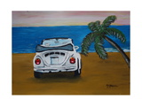 The VW Bug Series - The White Volkswagen Bug at the Beach Giclee Print by Martina Bleichner