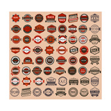Racing Badges - Vintage Style, Big Set Premium Giclee Print by  Ecelop